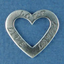 Affirmation Heart with Live, Love and Laugh Sterling Silver Charm