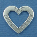 Affirmation Heart with Love, Joy and Peace Sterling Silver Charm