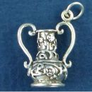 Flower Vase with Ornate Design 3D Sterling Silver Charm Pendant
