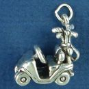 Golf Cart Large with Golf Bag and Clubs 3D Sterling Silver Charm Pendant