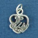 Sister, Sis Word Phase on Sterling Silver Heart Charm Pendant
