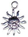 Sun Charm Sterling Silver for Bracelet or Necklace Pendant