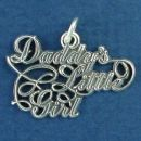 Daddy's Little Girl Word Phrase Sterling Silver Charm Pendant