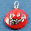 Ladies Hat in Red Enamel Sterling Silver Charm Pendant