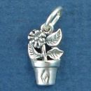 Flower in Pot Sterling Silver Charm Pendant