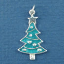 Christmas Tree with Green Enamel Sterling Silver Charm Pendant