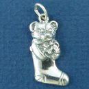 Christmas Stocking with Teddy Bear Child's Toy Sterling Silver Charm Pendant