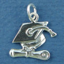 Graduation Cap and Diploma Sterling Silver Charm