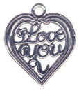 Heart, I Love You Sterling Silver Charm Pendant