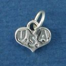 Heart with U.S.A. for United States of America Sterling Silver Charm Pendant