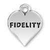Heart with Fidelity Word Phrase Sterling Silver Charm Pendant