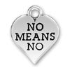 Heart with No Means No Word Phrase Sterling Silver Charm Pendant