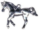 Horse Trotting Sterling Silver Charm Pendant
