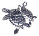 Sea Turtle Charm with Baby Sterling Silver Pendant