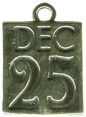 Christmas: Dec. 25 Date on Calendar Sterling Silver Charm Pendant