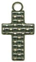 Cross With Weave Pattern Sterling Silver Charm Pendant