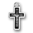 Cross with Border Sterling Silver Charm Pendant