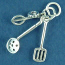 Kitchen: Spatula, Mixer and Ladle 3D Sterling Silver Charm Pendant