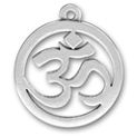Religious Hindu Round Cuttout Om Sanskrit for Yoga Sterling Silver Charm Pendant