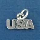 U.S.A. United States of America Sterling Silver Charm Pendant