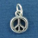 Peace Sign Symbol Small Sterling Silver Charm for Charm Bracelet or Necklace