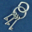 Keys to my Heart Sterling Silver Charm