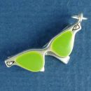 Designer Sunglasses Womens 3D Moveable Sterling Silver Charm Pendant with Lime Green Enamel
