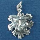 Leaf with Face Sterling Silver Charm Pendant