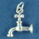 Water Facet Sterling Silver Charm Pendant