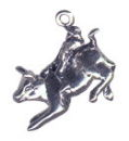 Cowboy Bull Rider 3D Sterling Silver Charm Pendant