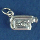 Camera Camcorder 3D Sterling Silver Charm Pendant