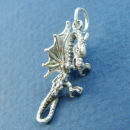 Dragon in Flight with Talons out Stretched 3D Sterling Silver Charm Pendant