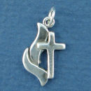 Cross with Methodist Style Flame Sterling Silver Charm Pendant