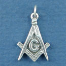 Masonic Symbol Compass and Square with G Sterling Silver Charm Pendant
