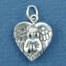 Angel Charm Sterling Silver Pendant with Wings in Shape of a Heart Praying