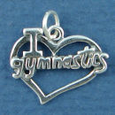 Gymnastics I Love Words in Cutout Heart Sterling Silver Charm Pendant