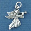 Angel Charm Sterling Silver Pendant with Horn