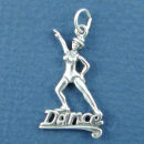 Dance Word with Girl in Dance Pose Sterling Silver Charm Pendant