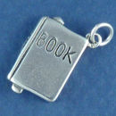 School Book 3D Sterling Silver Charm Pendant