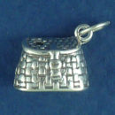 Fishing Creel Sterling Silver Charm Pendant