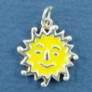 Face with Yellow Enamel Sun Charm Sterling Silver for Bracelet or Necklace