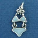 Bikini Charm Sterling Silver Pendant Blue Enamel Two Pice Ladies Swim Suit