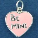 Heart with Word Phrase Be Mine Double Sided Sterling Silver Pink Enamel Accented Charm Pendant
