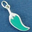 Jalapeno Green Chile Pepper with Double Sided Enamel Sterling Silver Charm Pendant