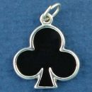 Playing Card Symbol Black Club Gambling Sterling Silver Enamel Charm Pendant