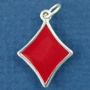 Playing Card Symbol Red Diamond Gambling Sterling Silver Enamel Charm Pendant