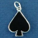 Playing Card Symbol Black Spade Gambling Sterling Silver Enamel Charm Pendant