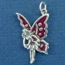 Fairy Flying with Purple Enamel Wing Accents Sterling Silver Charm Pendant