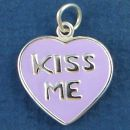 Heart and Kiss Me Word Phrase with Purple Enamel Sterling Silver Charm Pendant