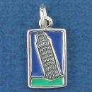 Tour International Post Card Sterling Silver Charm of Leaning Tower of Pisa Enamel Pendant